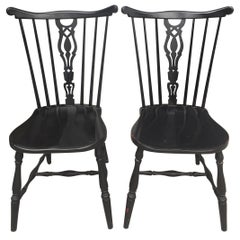 Pair of Black Lacquered Wood Chairs from Gemla Diö, 1950s