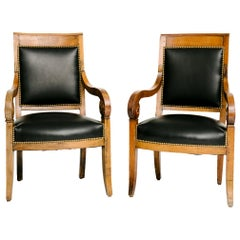 Pair of Black Lambskin Charles X-Chairs