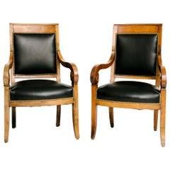 Pair of Black Lambskin Charles X-Chairs