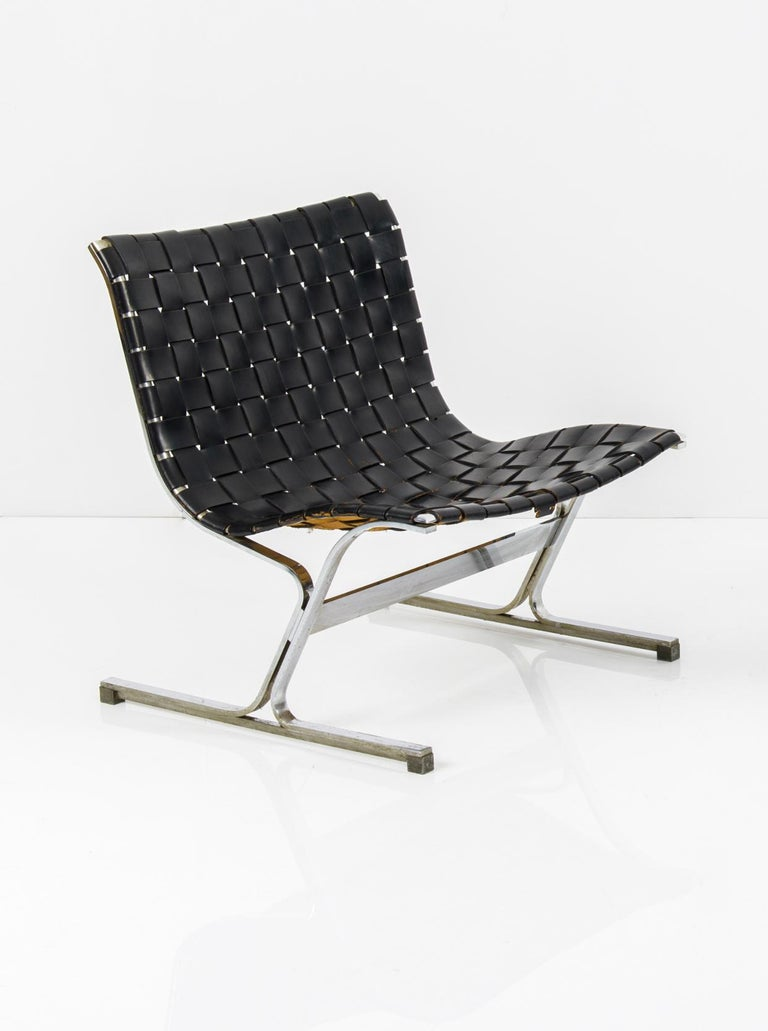 Italian Pair of Black Leathear Lounge Chairs Designed by Ross Littel For Sale