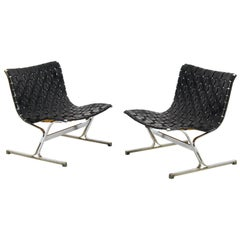 Pair of Black Leathear Lounge Chairs Designed by Ross Littel