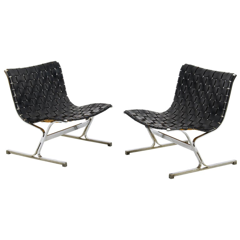 Pair of Black Leathear Lounge Chairs Designed by Ross Littel For Sale