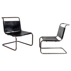 Pair of Black Leather and Chrome Marcel Breuer Style Chairs