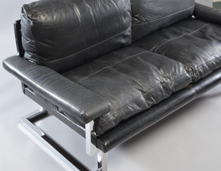 Pair of Black Leather and Chrome Sofas by Tim Bates for Pieff & Co 5