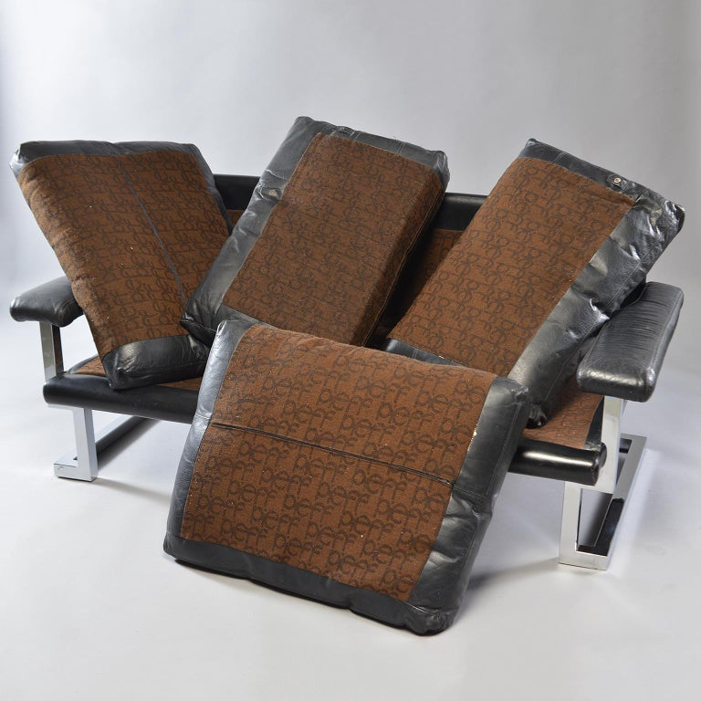 Pair of Black Leather and Chrome Sofas by Tim Bates for Pieff & Co 7
