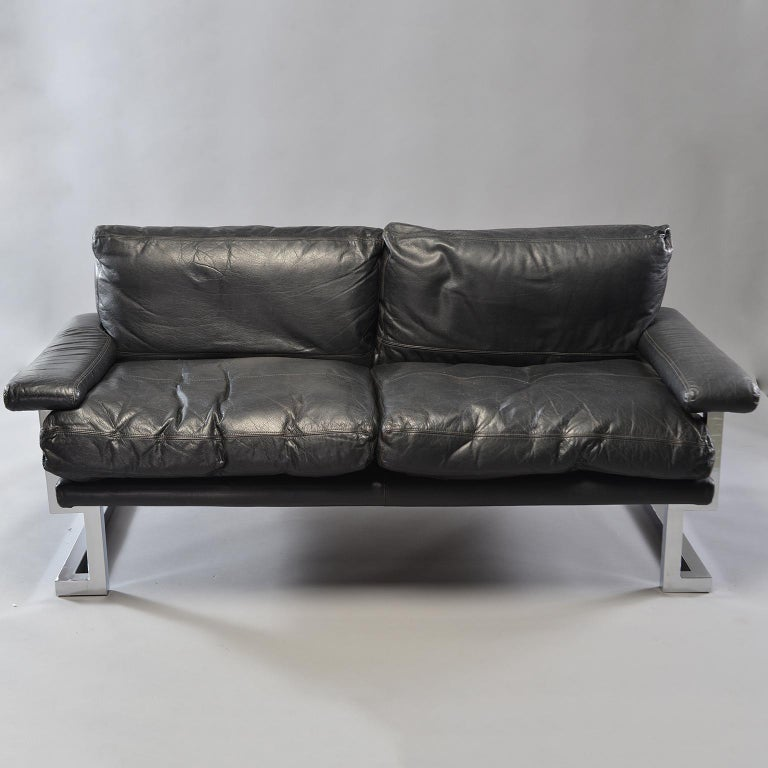 Pair of Black Leather and Chrome Sofas by Tim Bates for Pieff & Co 8