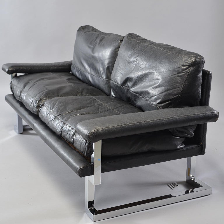 Pair of Black Leather and Chrome Sofas by Tim Bates for Pieff & Co 11