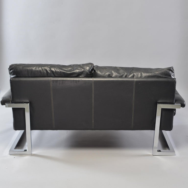 Pair of Black Leather and Chrome Sofas by Tim Bates for Pieff & Co 12
