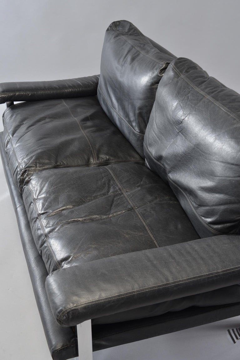 Pair of Black Leather and Chrome Sofas by Tim Bates for Pieff & Co 13