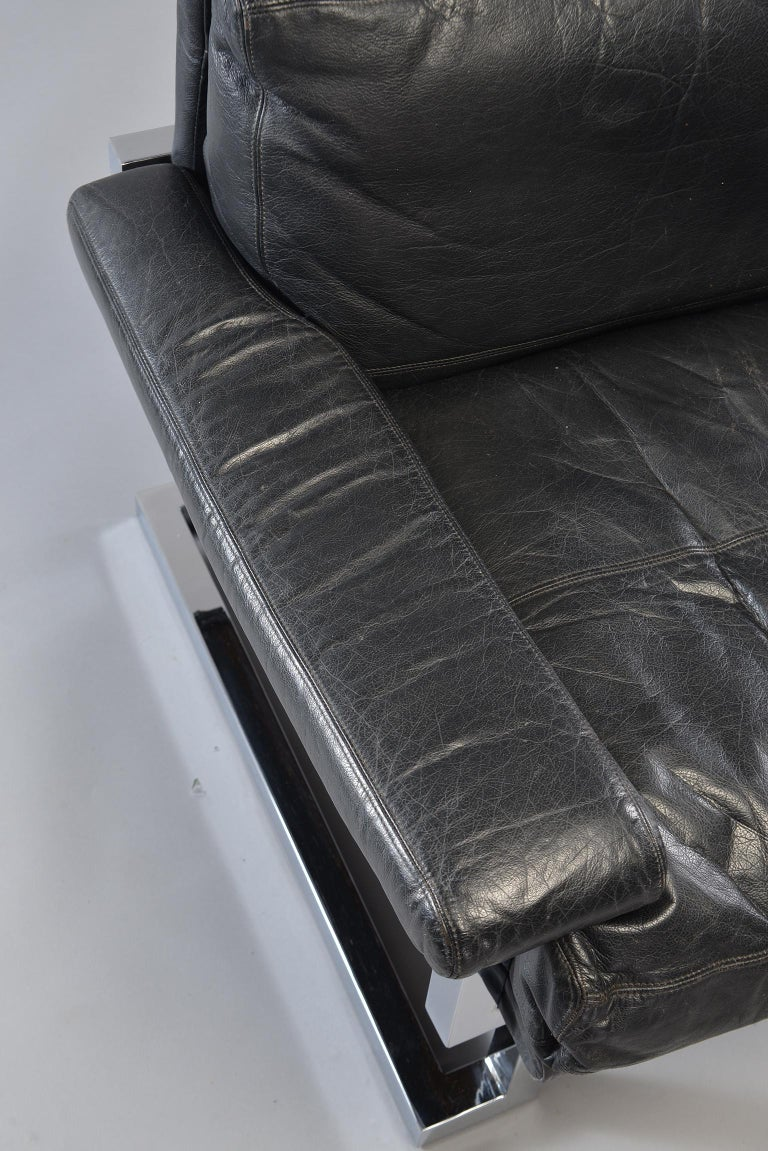 Pair of Black Leather and Chrome Sofas by Tim Bates for Pieff & Co 14