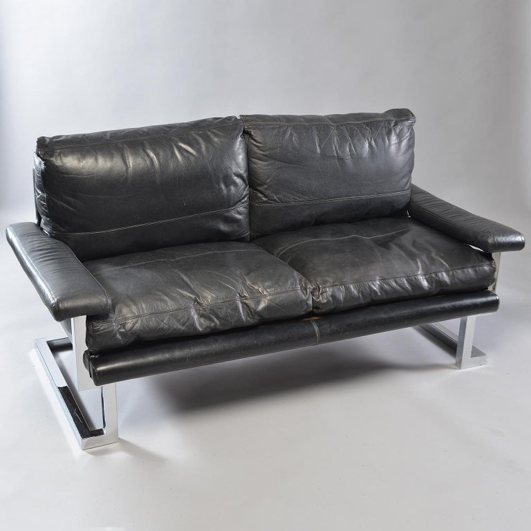 Mid-Century Modern Pair of Black Leather and Chrome Sofas by Tim Bates for Pieff & Co