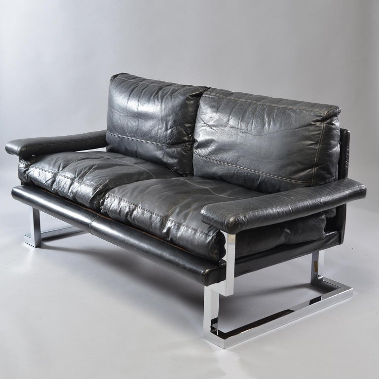 20th Century Pair of Black Leather and Chrome Sofas by Tim Bates for Pieff & Co