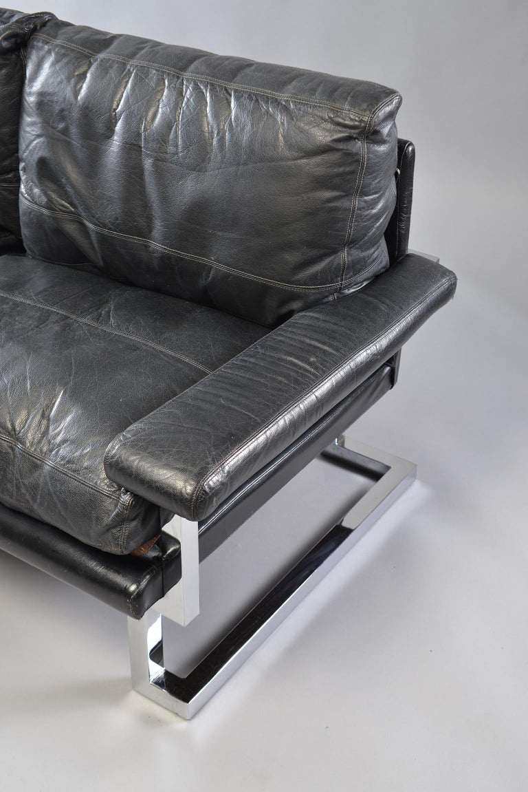 Pair of Black Leather and Chrome Sofas by Tim Bates for Pieff & Co 2