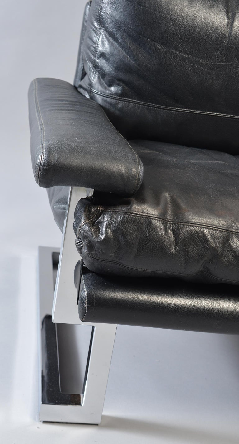 Pair of Black Leather and Chrome Sofas by Tim Bates for Pieff & Co 3