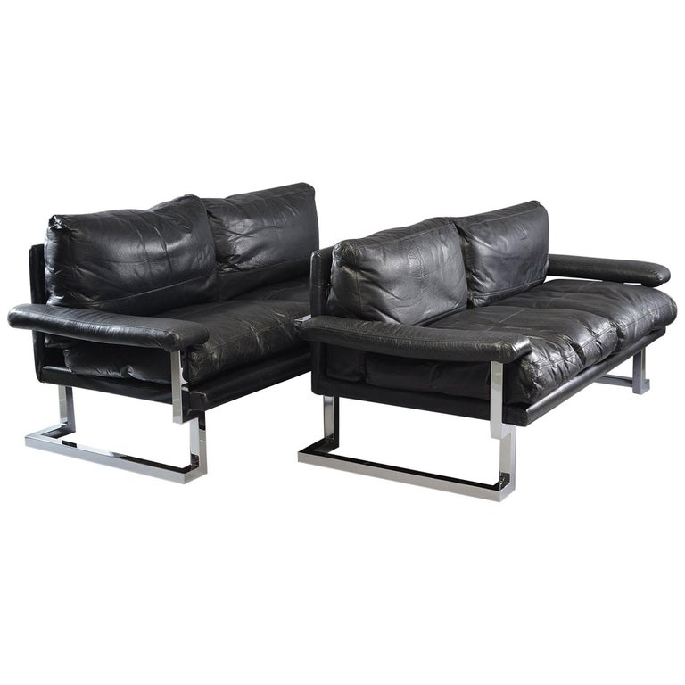 Pair of Black Leather and Chrome Sofas by Tim Bates for Pieff & Co