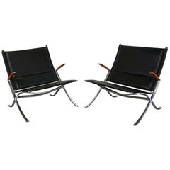 Pair of Black Leather and Steel Lounge Chairs by Fabricius & Kastholm