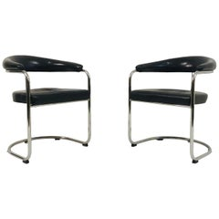 Pair of Black Leather and Tubular Steel Armchairs by Anton Lorenz for Thonet