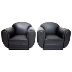 Pair of Black Leather and Wood Art Deco Armchairs, Italy, circa 1930