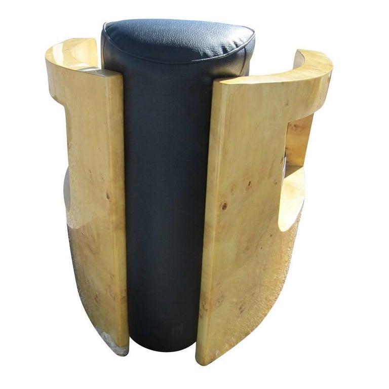 Late 20th Century Pair of Black Leather Art Deco Style Lounge Chairs For Sale