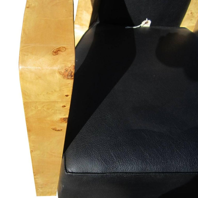 Pair of Black Leather Art Deco Style Lounge Chairs For Sale 3
