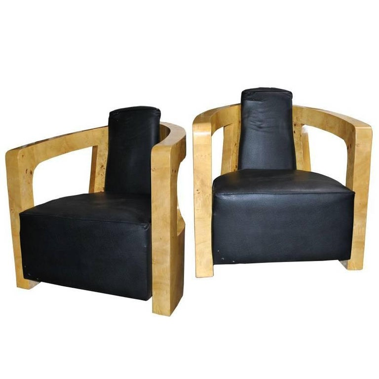 Pair Of Black Leather Art Deco Style Lounge Chairs For