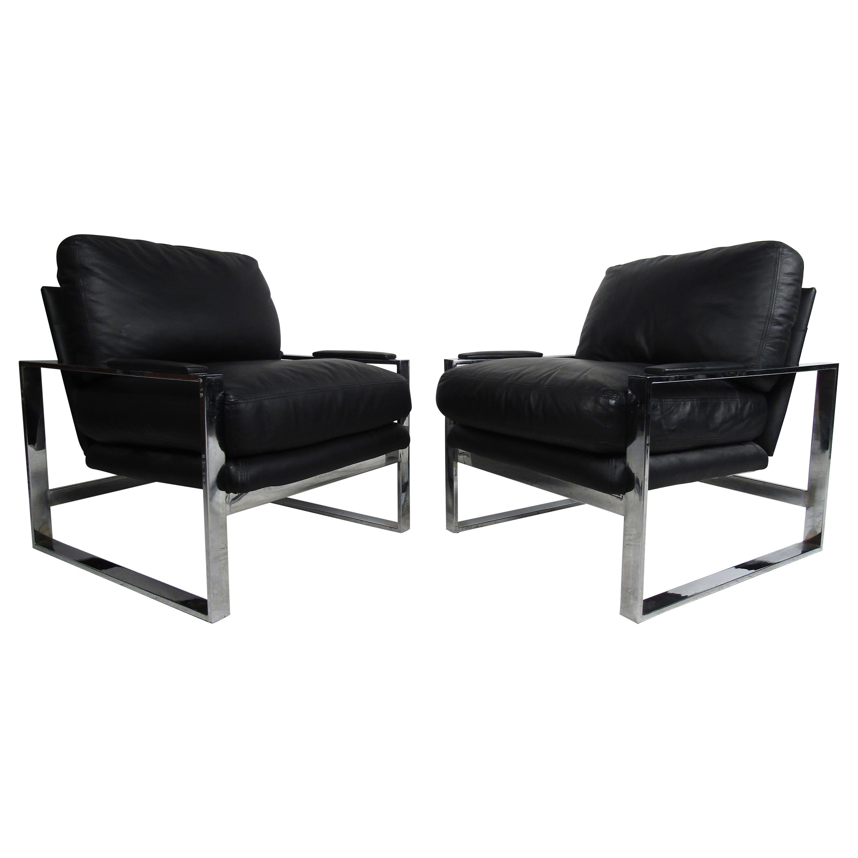 Pair of Black Leather Baughman Style Contemporary Lounge Chairs