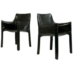 "Pair of Black Leather ""CAB"" Chairs Designed by Mario Bellini"