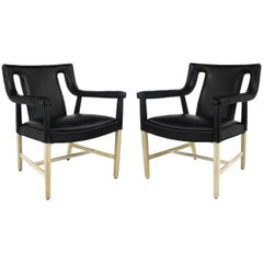Pair of Black Leather Ejner Larsen and Aksel Bender Madsen Lounge Chair LP48