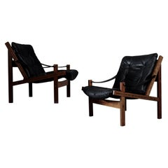 Pair of Black Leather Hunter Easy Chairs by Torbjørn Afdal, 1960s