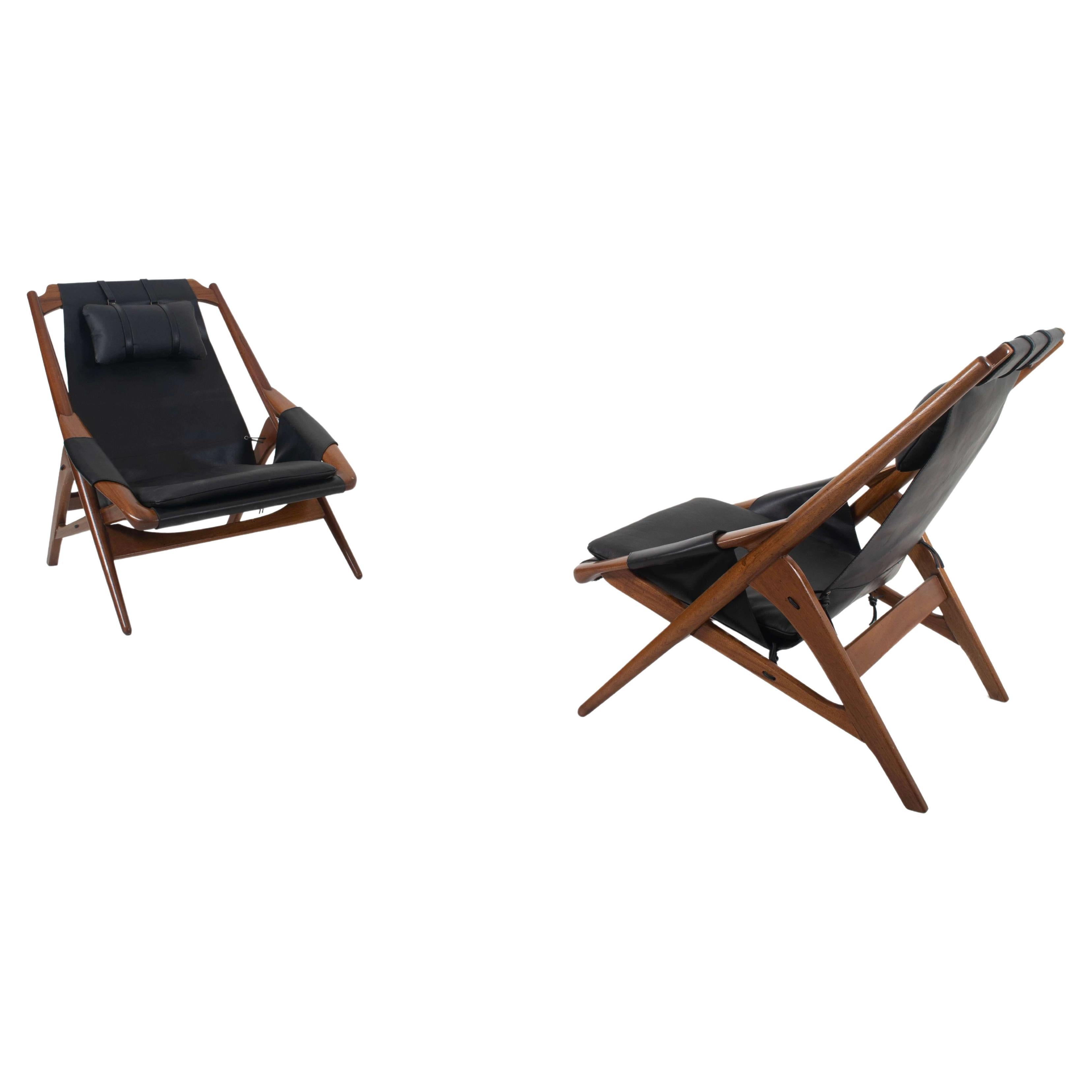 Pair of Black Leather Lounge Chairs by W.D. Andersag, Italy 1960s