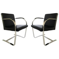 Pair of Black Leather Ludwig Mies van der Rohe Flat Bar Brno Chairs