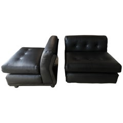 Pair of Black Leather Mario Bellini B&B Chairs