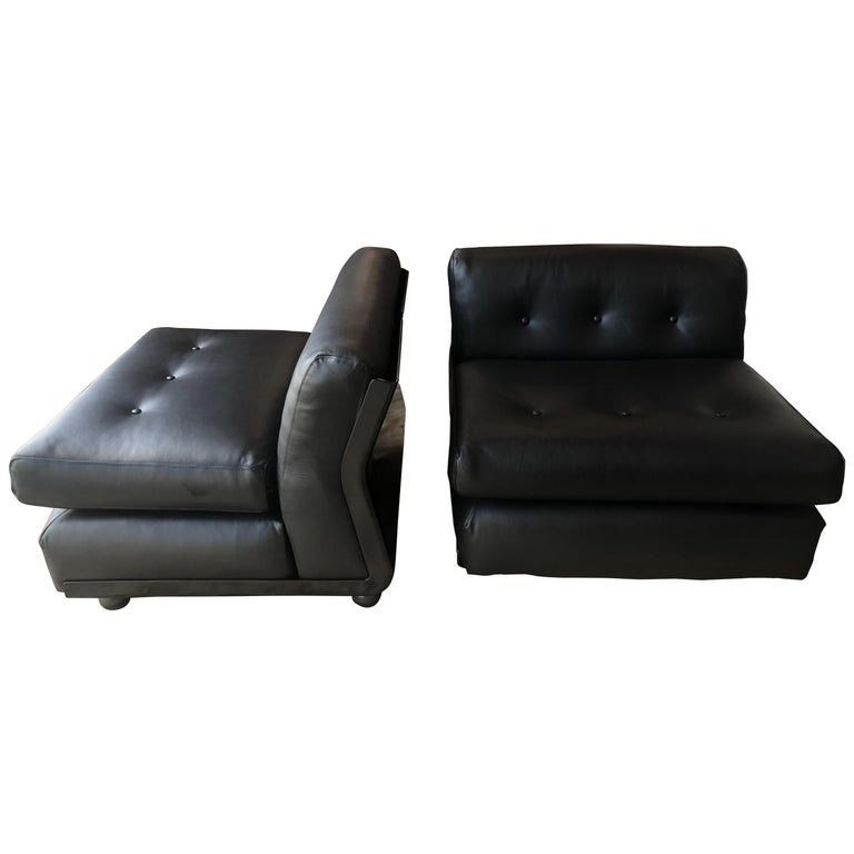 Pair of Black Leather Mario Bellini B&B Chairs For Sale