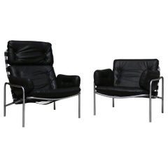 Pair of Black Leather Martin Visser Osaka Lounge Chairs, 1970s