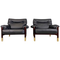 "Pair of Black leather Midcentury Lounge Chairs Model ""Sella"" by Carlo de Carli"