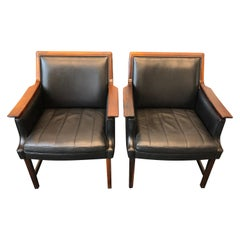Pair of Rosewood and Black Leather Minerva Club Chairs by Torbjørn Afdal, 1960s