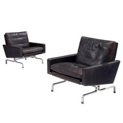 Pair of Black Leather PK31-1 Lounge Chairs by Poul Kjaerholm