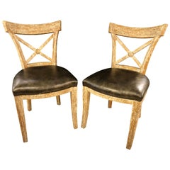 Pair of Black Leather Seat Side Chairs, Hollywood Regency Design