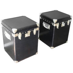 Pair of Black Leather Steamer Trunk, Black Leather Blanket Box, Bedside Cabinet