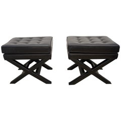 Pair of Black Leather Benches