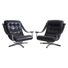 Pair of Black Leather Swivel Chairs by Göte Möbler