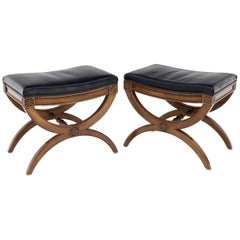 Pair of Black Leather X-Bases Benches Ottomans Foot Stools by Kindel