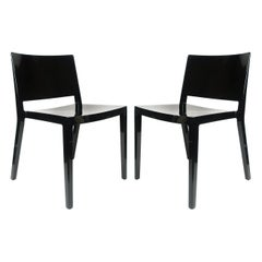 Pair of Black Lizz Chairs by Piero Lissoni & Carlo Tamborini for Kartell