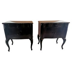 Pair of Black Mahogany Nightstands Laquered England 1905-1909 Edward VII