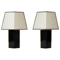 Pair of Black Marble and Brass Table Lamp, by Dorian Caffot de Fawes
