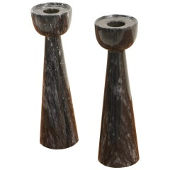 Pair of Black Marble Candlesticks Imported by Raymor, Italy, 1950s, Excellent