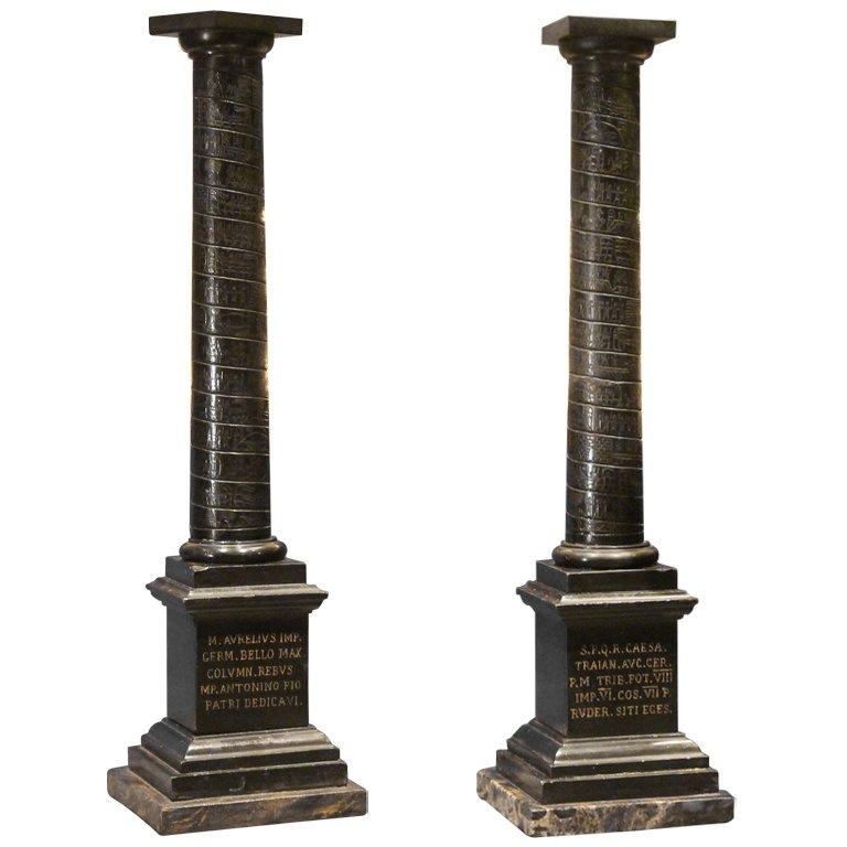 Columns For Sale >> Pair Of Black Marble Grand Tour Columns For Sale At 1stdibs