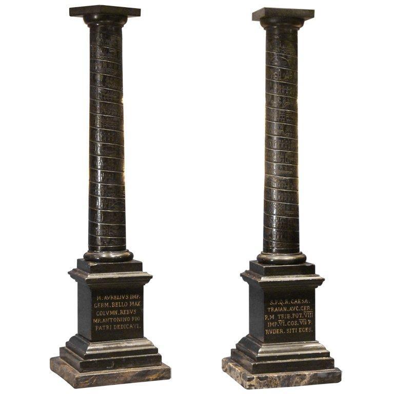 Columns For Sale >> Pair Of Black Marble Grand Tour Columns