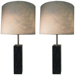 Pair of Rectangular Black Marble Lamps Designed by Nessen Lamps