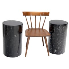 Pair of Black Marble Stone Veneer Sheeted Tiled Round Cylinder Pedestals